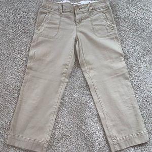 Khaki capris, only worn twice!
